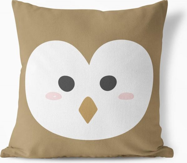 KNUSSEN Dierencollectie - Kussen Uil | Taupe - 50cm x 50cm, Hoes